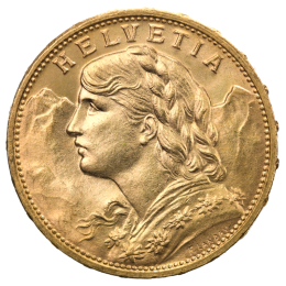 20 Swiss Francs Vreneli Gold Coin 1897-1949